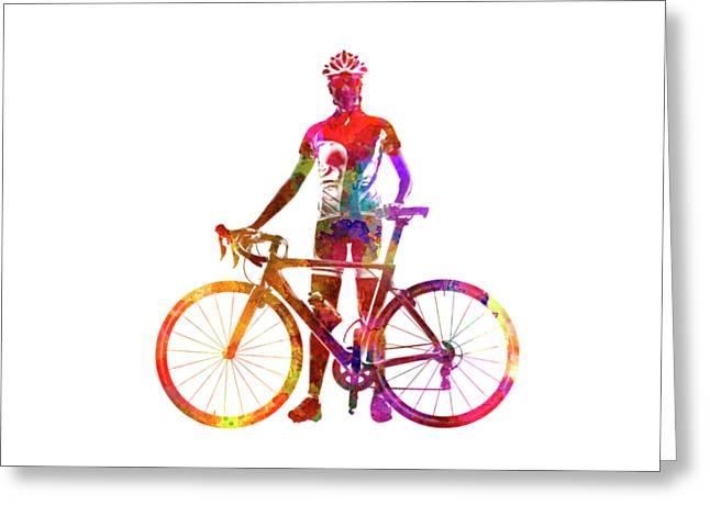 Woman Triathlon Cycling 02 Greeting Card by Pablo Romero