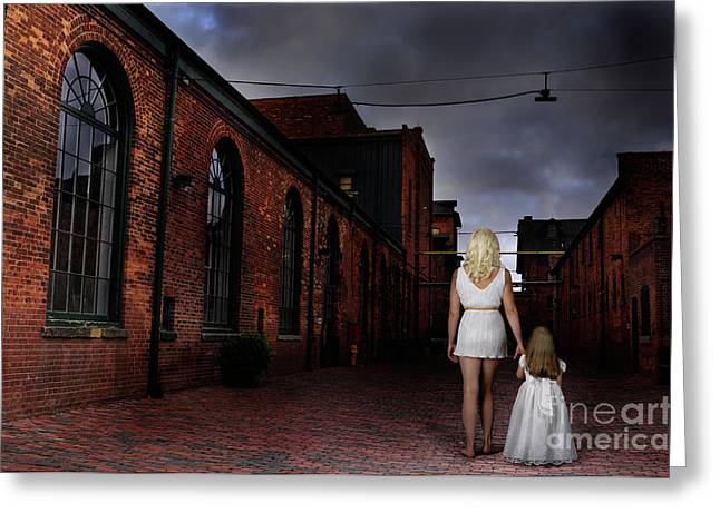 Insecurity Greeting Cards - Woman Walking Away with a Child Greeting Card by Oleksiy Maksymenko