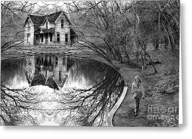 Woman Walking To Old House Greeting Card by Jill Battaglia