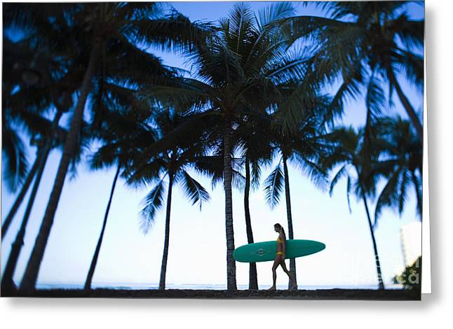Surfing Photos Greeting Cards - Woman walking with surfboard Greeting Card by Dana Edmunds - Printscapes