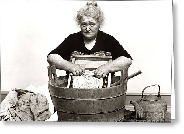 Woman Washing Clothes, C. 1930s Greeting Card by H. Armstrong Roberts/ClassicStock
