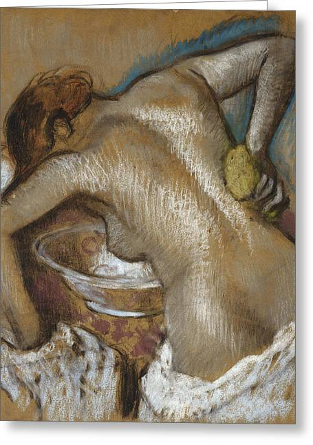 Back Pastels Greeting Cards - Woman Washing Her Back with a Sponge Greeting Card by Edgar Degas