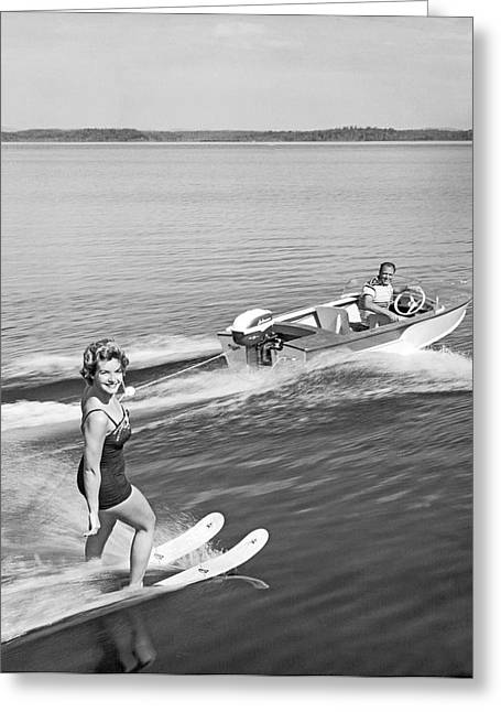 Swimsuits Swimming Costumes Greeting Cards - Woman Water Skiing Greeting Card by Underwood Archives