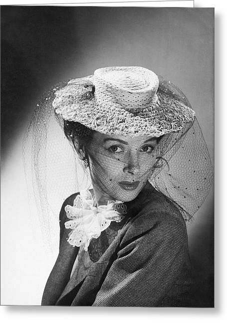 1950s Portraits Greeting Cards - Woman Wearing A Hat & Veil Greeting Card by Underwood Archives