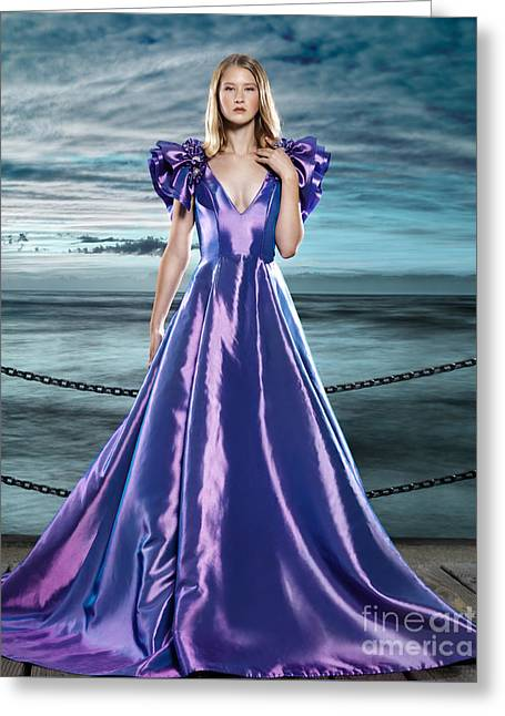 Maxi-dress Greeting Cards - Woman wearing beautiful long blue dress at waterfront Greeting Card by Oleksiy Maksymenko