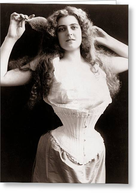 Woman Wearing Corset Greeting Card by Unknown