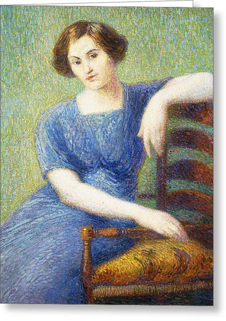 Woman With A Chair Greeting Card by Hippolyte Petitjean