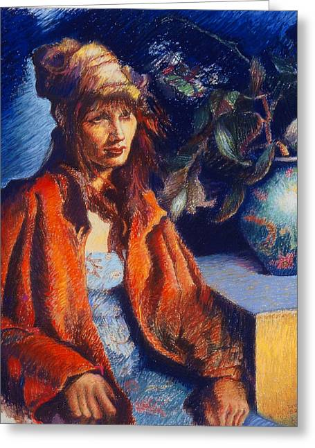 Figurative Pastels Greeting Cards - Woman with a Chinese Vase Greeting Card by Ellen Dreibelbis