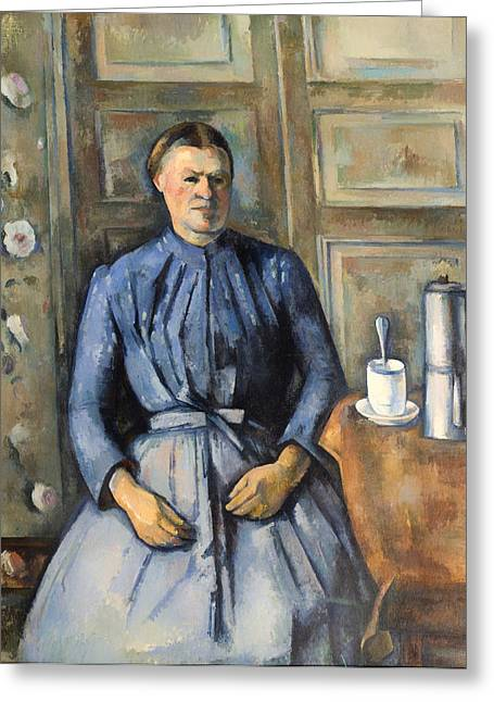 Apron Greeting Cards - Woman with a Coffee Pot Greeting Card by Paul Cezanne