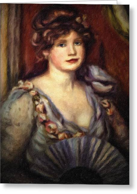 With Love Greeting Cards - Woman With A Fan After Renoir Greeting Card by Georgiana Romanovna