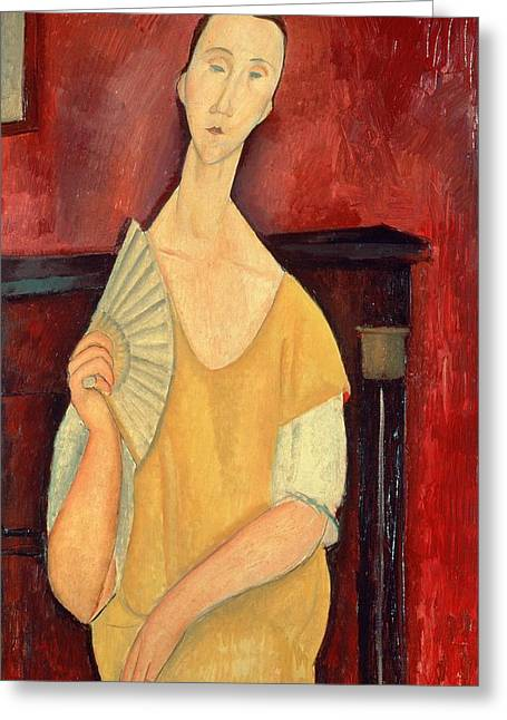 Modigliani; Amedeo (1884-1920) Greeting Cards - Woman with a Fan Greeting Card by Amedeo Modigliani