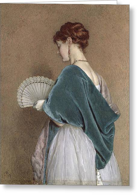 Blue Necklace Greeting Cards - Woman with a Fan Greeting Card by John Dawson Watson
