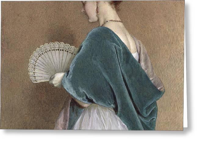 Woman with a Fan Greeting Card by John Dawson Watson