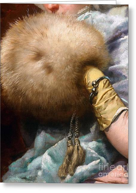 Woman With A Fur Muff, Spanish Old Master Painting Greeting Card by Tina Lavoie