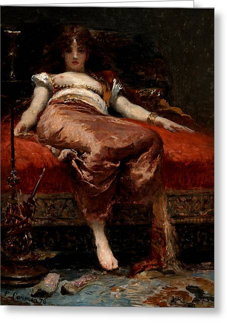 Hallucination Greeting Cards - Woman with a Hookah Greeting Card by Fernand Cormon