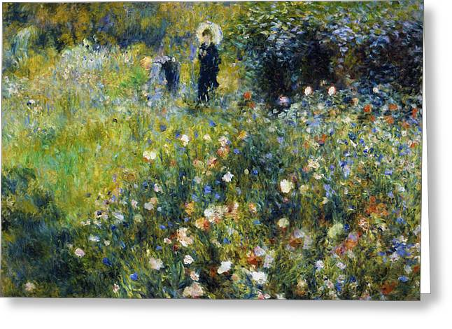 Garden Scene Mixed Media Greeting Cards - Woman With A Parasol After Renoir Greeting Card by Georgiana Romanovna