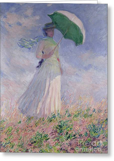 Women Greeting Cards - Woman with a Parasol turned to the Right Greeting Card by Claude Monet