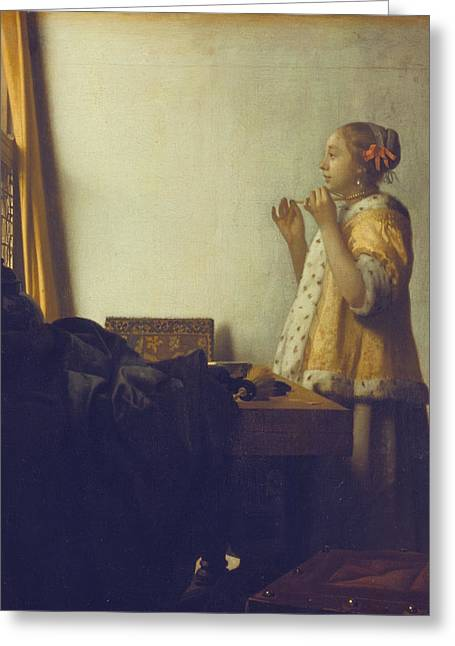 Vermeer Paintings Greeting Cards - Woman with a Pearl Necklace Greeting Card by Jan Vermeer