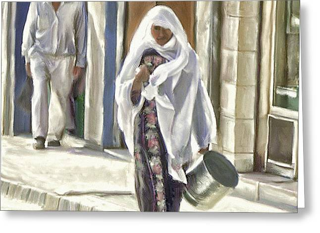 Jordan Greeting Cards - Woman With a Pot Greeting Card by Ted Guhl
