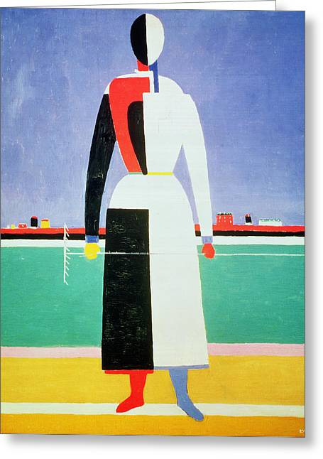 Halved Greeting Cards - Woman with a Rake Greeting Card by Kazimir Severinovich Malevich