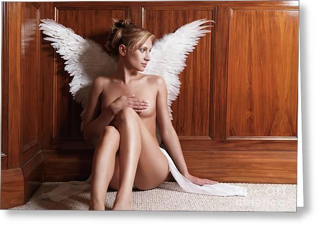 Despair Greeting Cards - Woman with Angel Wings Greeting Card by Oleksiy Maksymenko