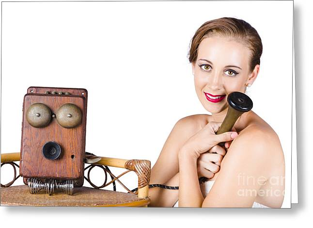 Youthful Photographs Greeting Cards - Woman with antique telephone Greeting Card by Ryan Jorgensen