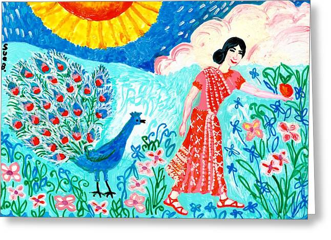 Woman with Apple and Peacock Greeting Card by Sushila Burgess