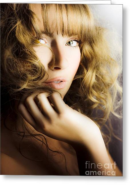 Coif Greeting Cards - Woman with beautiful wavy hair Greeting Card by Ryan Jorgensen