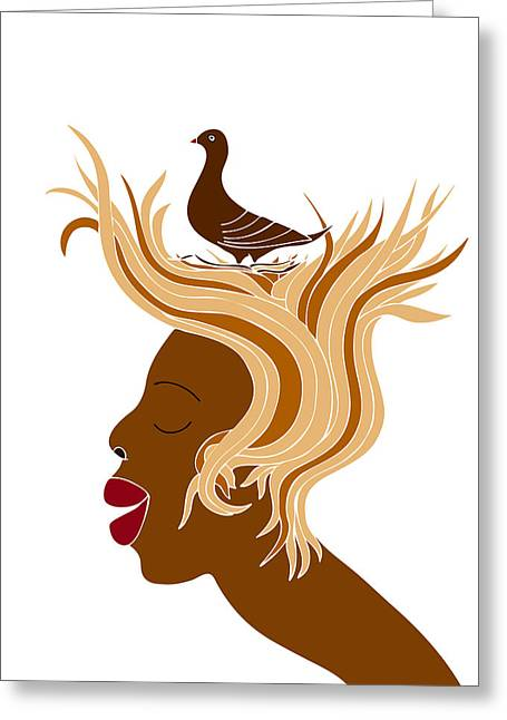 Disturbing Greeting Cards - Woman with bird Greeting Card by Frank Tschakert