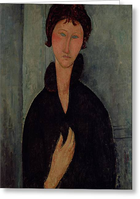 Modigliani; Amedeo (1884-1920) Greeting Cards - Woman with Blue Eyes Greeting Card by Amedeo Modigliani