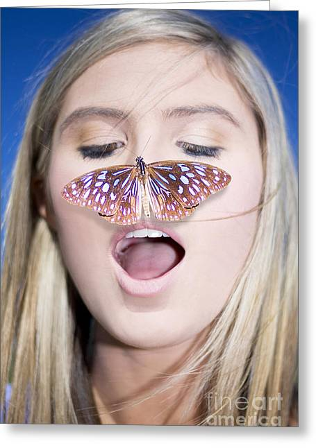 Beautiful Landing Greeting Cards - Woman With Butterfly Greeting Card by Ryan Jorgensen