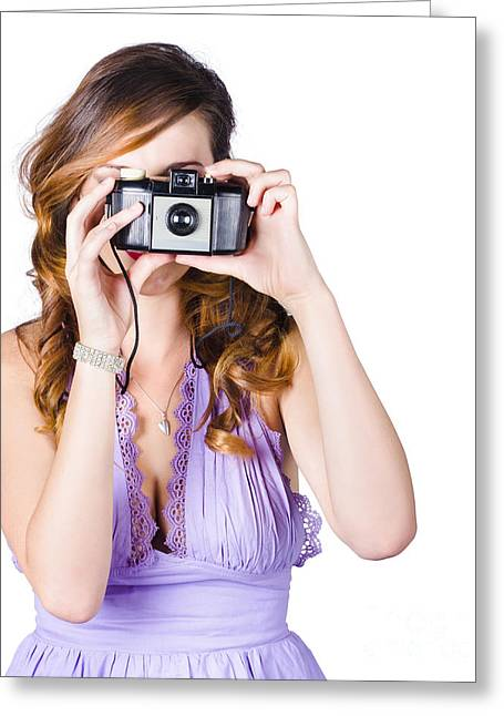 Amateur Photographer Greeting Cards - Woman with camera on white background Greeting Card by Ryan Jorgensen