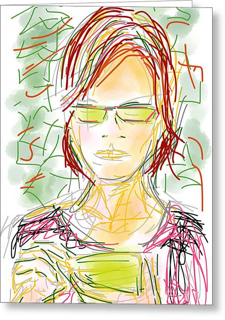Consume Drawings Greeting Cards - Woman with Cell Phone ii Greeting Card by Robert Yaeger