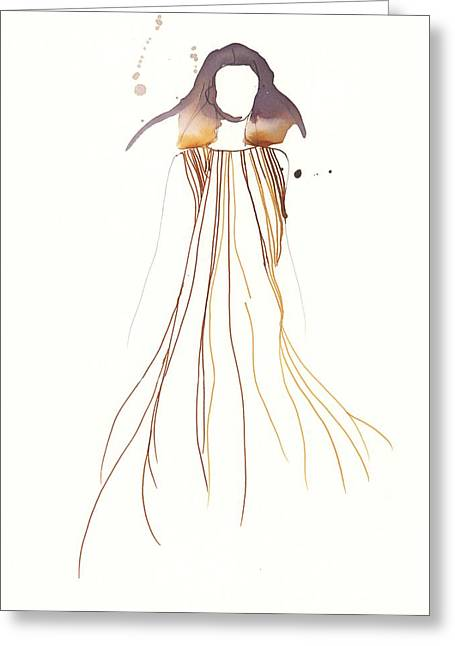 Fashionista Greeting Cards - Woman with dress from Chloe Greeting Card by Toril Baekmark