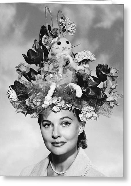 1950s Portraits Greeting Cards - Woman With Easter Bonnet Greeting Card by Underwood Archives
