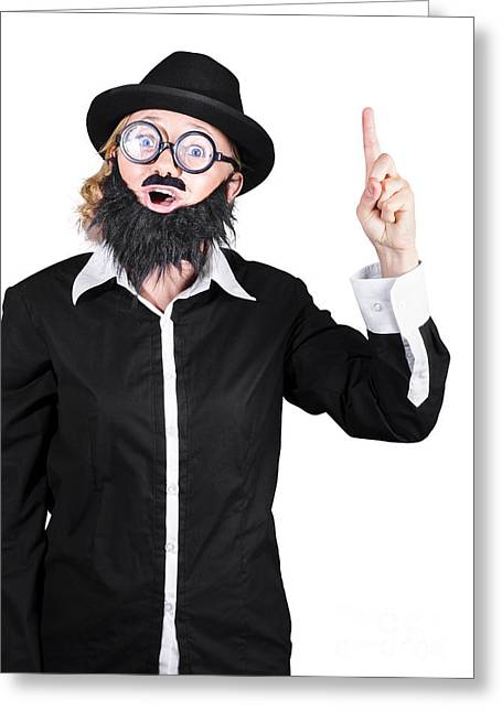 Mustache Greeting Cards - Woman With Fake Beard And Mustache Pointing Finger Up Greeting Card by Ryan Jorgensen