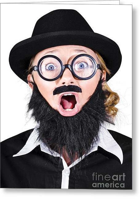 Mustache Greeting Cards - Woman With Fake Beard And Mustache Screaming Greeting Card by Ryan Jorgensen