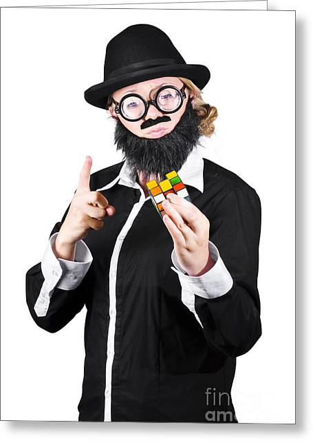 Plastic Solution Greeting Cards - Woman With False Beard And Mustache Holding Cube Puzzle Greeting Card by Ryan Jorgensen