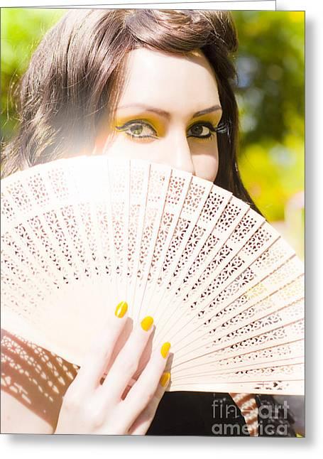 Eyelash Greeting Cards - Woman With Fan Greeting Card by Ryan Jorgensen
