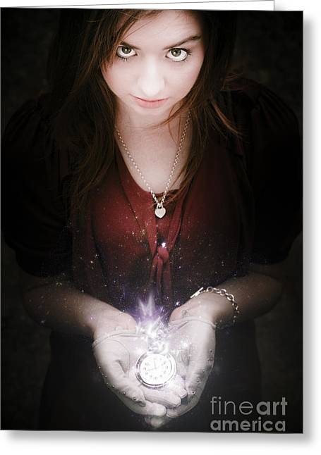 Woman With Glowing Watch Greeting Card by Jorgo Photography - Wall Art Gallery