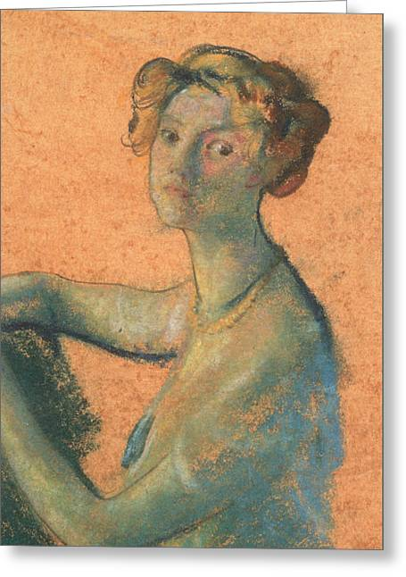 Woman With Orange Background Greeting Card by Arthur Bowen Davies