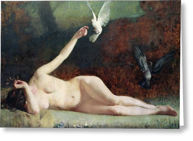 Female Body Paintings Greeting Cards - Woman with Pigeons Greeting Card by Ernst Philippe Zacharie