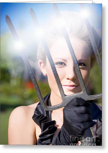 Woman With Pitchfork Greeting Card by Jorgo Photography - Wall Art Gallery