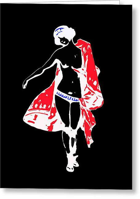 James Hill Greeting Cards - Woman with Red Cape - and not much else Greeting Card by James Hill