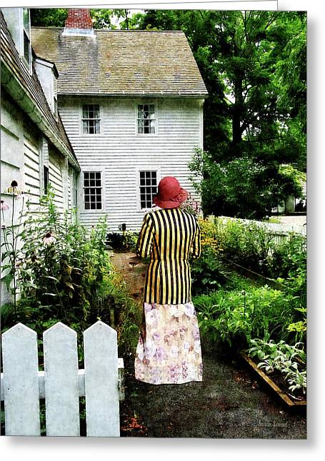 Clothing Greeting Cards - Woman With Striped Jacket and Flowered Skirt Greeting Card by Susan Savad