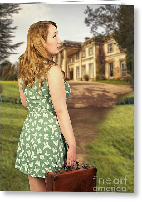 Woman With Suitcase Greeting Card by Amanda And Christopher Elwell