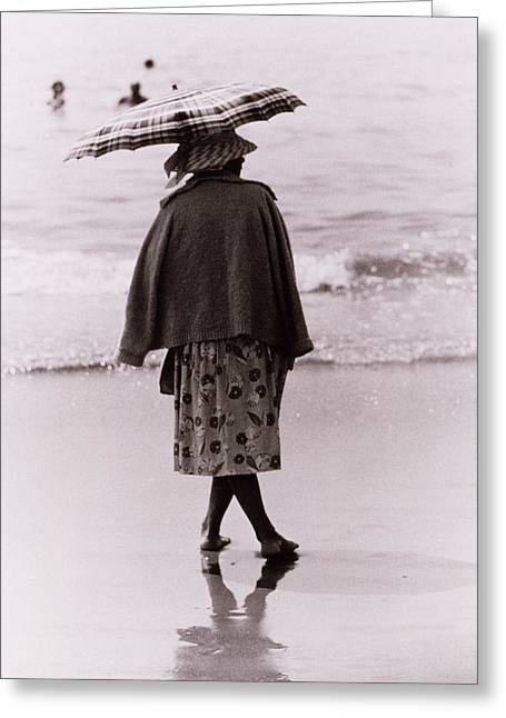 On The Beach Greeting Cards - Woman with Sun Umbrella Greeting Card by Nat Herz