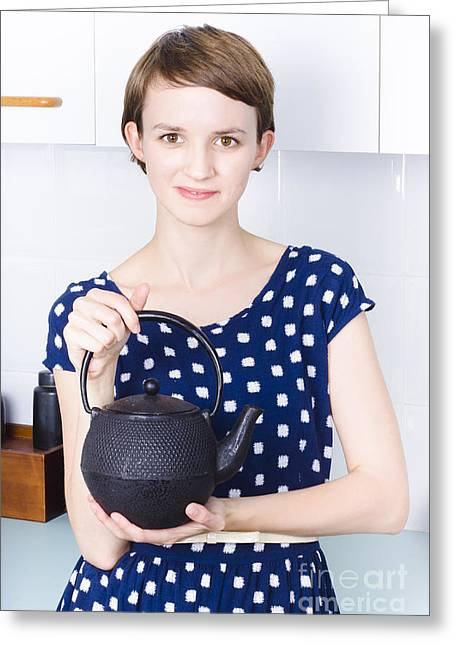 Youthful Greeting Cards - Woman with tea kettle Greeting Card by Ryan Jorgensen