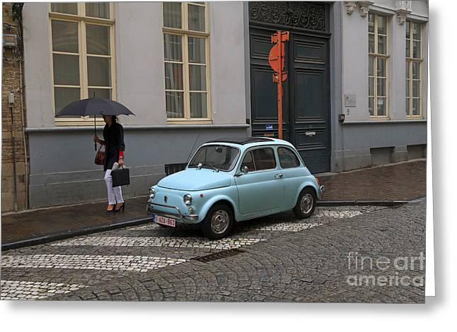 Fiat 500 Greeting Cards - Woman With Umbrella Greeting Card by Louise Heusinkveld