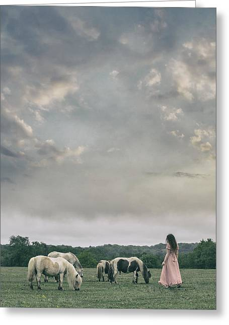 New Forest Pony Greeting Cards - Woman With Wild Ponies Greeting Card by Joana Kruse